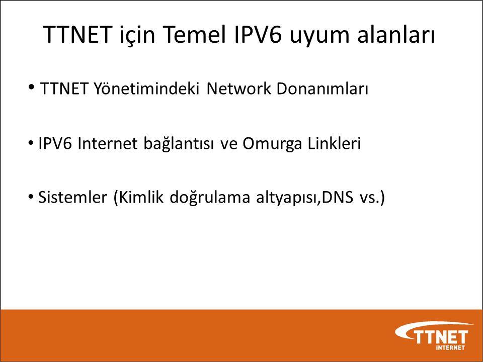 TTNET için Temel IPV6 uyum alanları • TTNET Yönetimindeki Network Donanımları • IPV6 Internet bağlantısı ve Omurga Linkleri • Sistemler (Kimlik doğrul