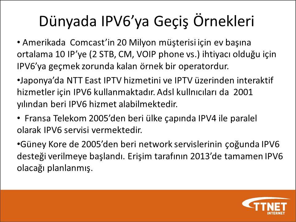 Dünyada IPV6'ya Geçiş Örnekleri • Amerikada Comcast'in 20 Milyon müşterisi için ev başına ortalama 10 IP'ye (2 STB, CM, VOIP phone vs.) ihtiyacı olduğ