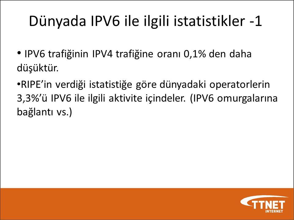 Dünyada IPV6 ile ilgili istatistikler -1 • IPV6 trafiğinin IPV4 trafiğine oranı 0,1% den daha düşüktür. • RIPE'in verdiği istatistiğe göre dünyadaki o