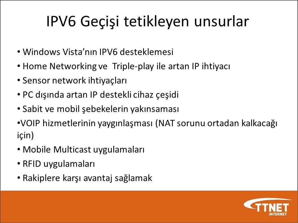 IPV6 Geçişi tetikleyen unsurlar • Windows Vista'nın IPV6 desteklemesi • Home Networking ve Triple-play ile artan IP ihtiyacı • Sensor network ihtiyaçl
