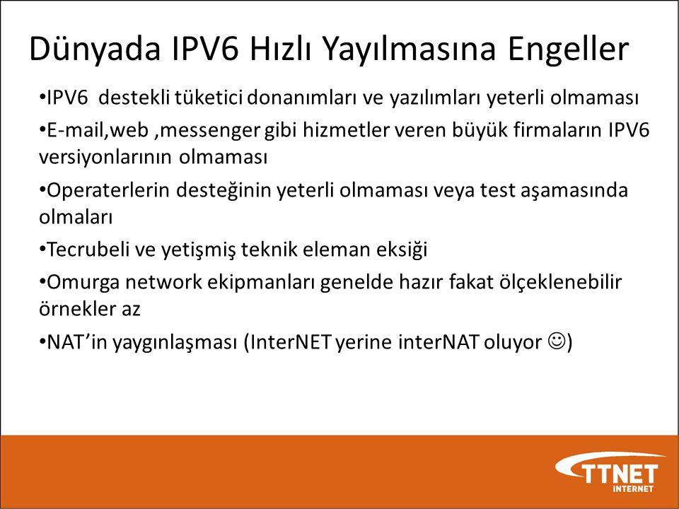 Dünyada IPV6 Hızlı Yayılmasına Engeller • IPV6 destekli tüketici donanımları ve yazılımları yeterli olmaması • E-mail,web,messenger gibi hizmetler ver