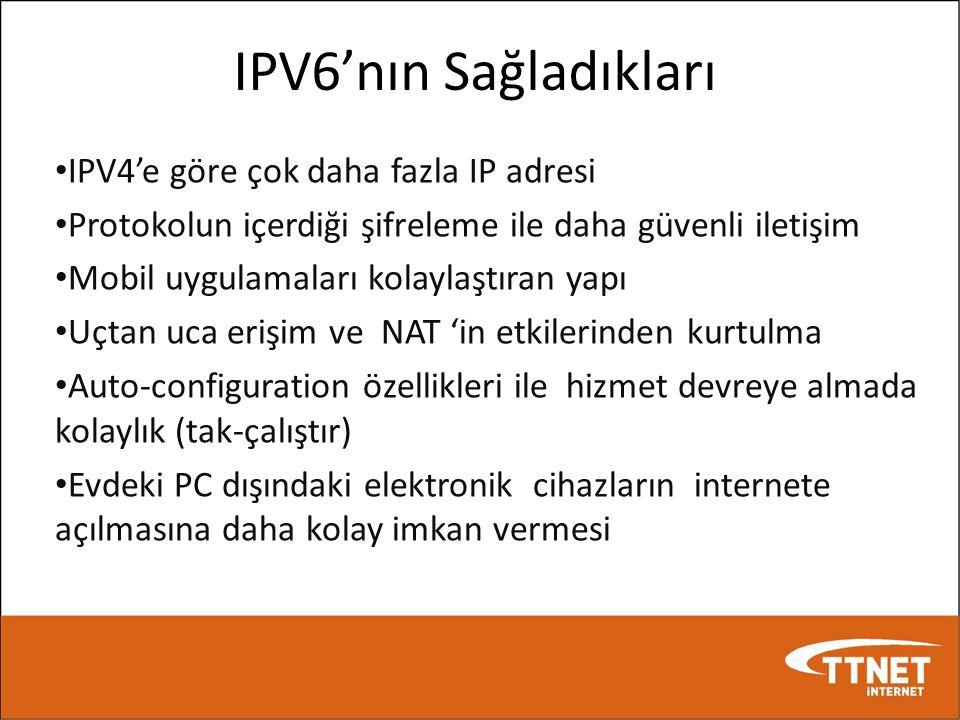 IPV6'nın Sağladıkları • IPV4'e göre çok daha fazla IP adresi • Protokolun içerdiği şifreleme ile daha güvenli iletişim • Mobil uygulamaları kolaylaştı