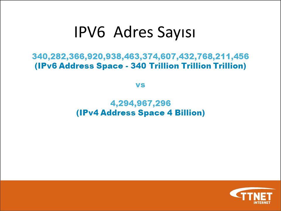 IPV6 Adres Sayısı 340,282,366,920,938,463,374,607,432,768,211,456 (IPv6 Address Space - 340 Trillion Trillion Trillion) vs 4,294,967,296 (IPv4 Address