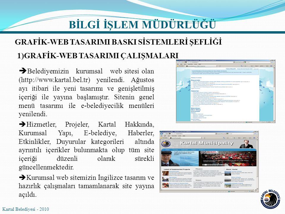  Belediyemizin kurumsal web sitesi olan (http://www.kartal.bel.tr) yenilendi. Ağustos ayı itibari ile yeni tasarımı ve genişletilmiş içeriği ile yayı