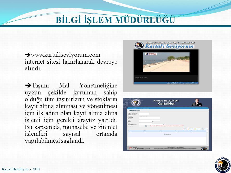  www.k artaliseviyorum.com internet sitesi hazırlanarak devreye alındı.  Taşınır Mal Yönetmeliğine uygun şekilde kurumun sahip olduğu tüm taşınırlar