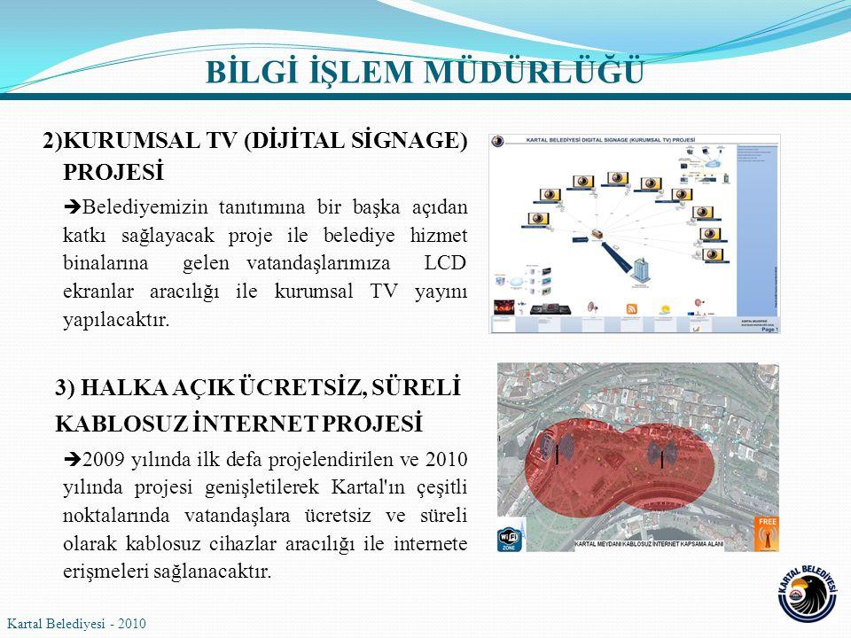2)KURUMSAL TV (DİJİTAL SİGNAGE) PROJESİ  Belediyemizin tanıtımına bir başka açıdan katkı sağlayacak proje ile belediye hizmet binalarına gelen vatand