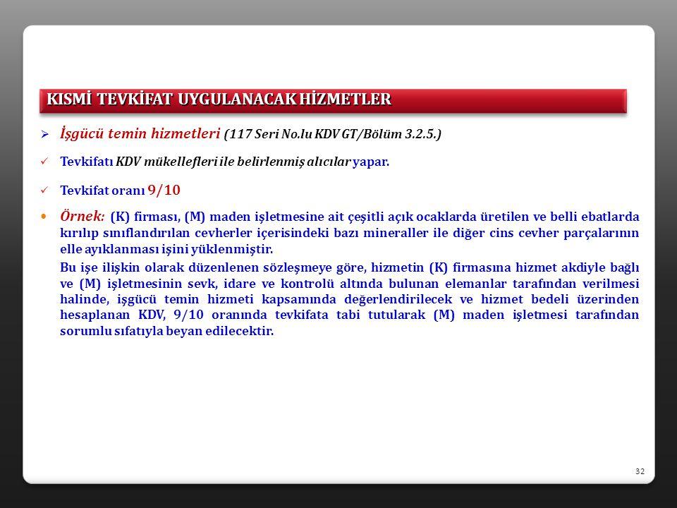  İşgücü temin hizmetleri (117 Seri No.lu KDV GT/Bölüm 3.2.5.)  Tevkifatı KDV mükellefleri ile belirlenmiş alıcılar yapar.  Tevkifat oranı 9/10  Ör