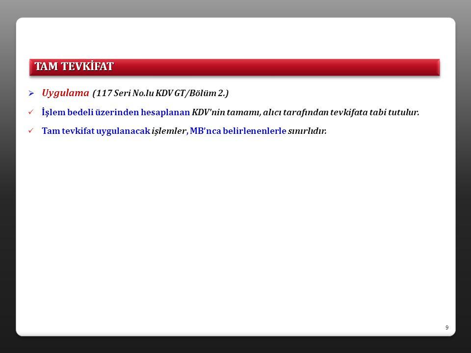  Türkiye mukimi olmayanlarca yapılan işlemler (117 Seri No.lu KDV GT/Bölüm 2.1.)  Türkiye de yapılan veya faydalanılan hizmetler Türkiye de ifa edilmiş sayılır (3065 s.