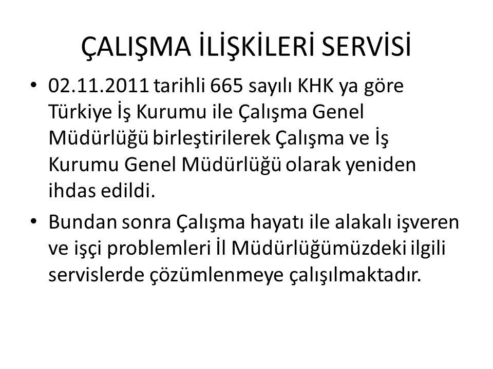 ÇALIŞMA İLİŞKİLERİ SERVİSİ • 02.11.2011 tarihli 665 sayılı KHK ya göre Türkiye İş Kurumu ile Çalışma Genel Müdürlüğü birleştirilerek Çalışma ve İş Kur