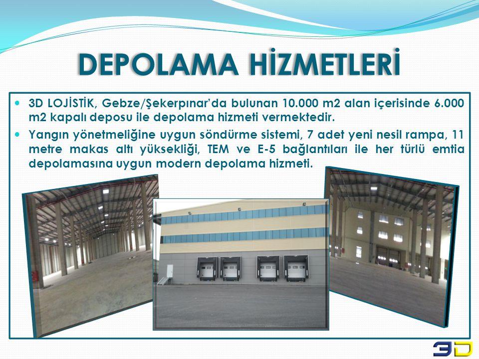 DEPOLAMA HİZMETLERİ  3D LOJİSTİK, Gebze/Şekerpınar'da bulunan 10.000 m2 alan içerisinde 6.000 m2 kapalı deposu ile depolama hizmeti vermektedir.  Ya