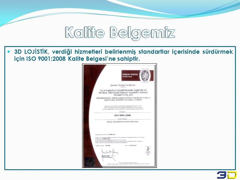  3D LOJİSTİK, verdiği hizmetleri belirlenmiş standartlar içerisinde sürdürmek için ISO 9001:2008 Kalite Belgesi'ne sahiptir.