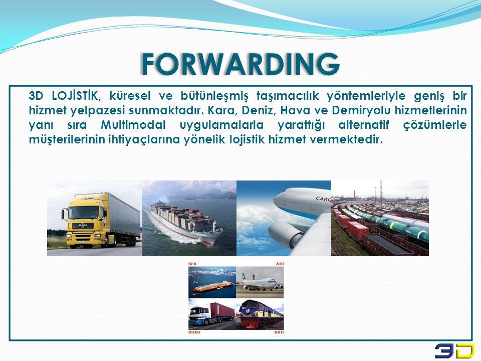 FORWARDING 3D LOJİSTİK, küresel ve bütünleşmiş taşımacılık yöntemleriyle geniş bir hizmet yelpazesi sunmaktadır. Kara, Deniz, Hava ve Demiryolu hizmet