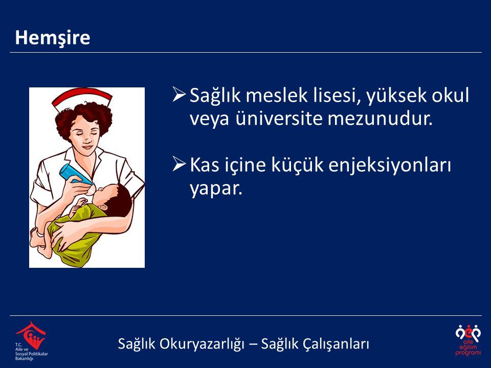  Sağlık meslek lisesi, yüksek okul veya üniversite mezunudur.  Kas içine küçük enjeksiyonları yapar. Sağlık Okuryazarlığı – Sağlık Çalışanları Hemşi