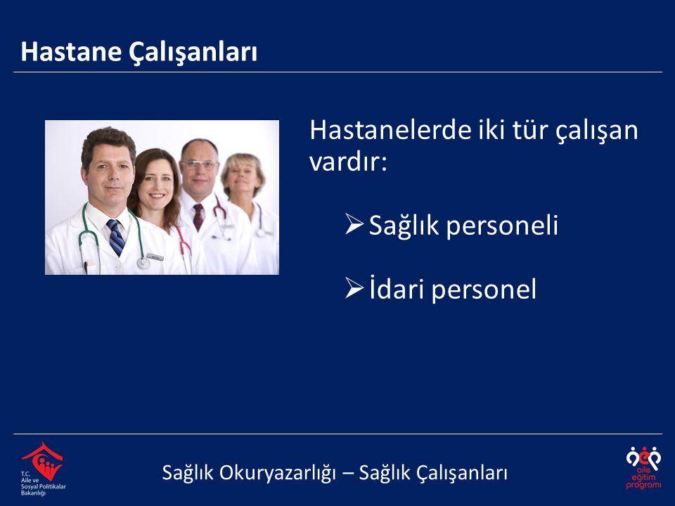 Hastanelerde iki tür çalışan vardır:  Sağlık personeli  İdari personel Sağlık Okuryazarlığı – Sağlık Çalışanları Hastane Çalışanları