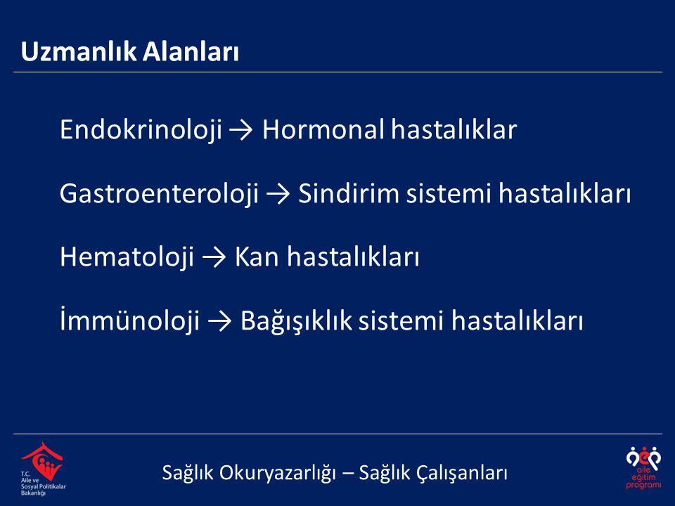 Endokrinoloji → Hormonal hastalıklar Gastroenteroloji → Sindirim sistemi hastalıkları Hematoloji → Kan hastalıkları İmmünoloji → Bağışıklık sistemi ha