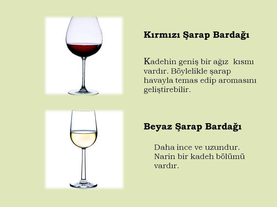 Kırmızı Şarap Bardağı K adehin geniş bir ağız kısmı vardır.