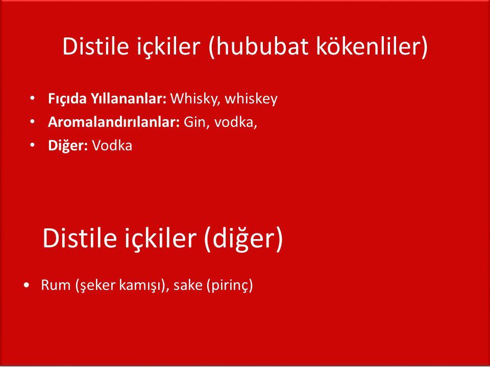 Distile içkiler (hububat kökenliler) • Fıçıda Yıllananlar: Whisky, whiskey • Aromalandırılanlar: Gin, vodka, • Diğer: Vodka Distile içkiler (diğer) •R