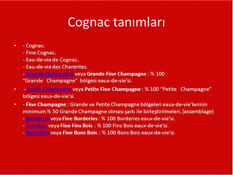 Cognac tanımları • - Cognac. - Fine Cognac. - Eau-de-vie de Cognac. - Eau-de-vie des Charentes. - Grande Champagne veya Grande Fine Champagne : % 100