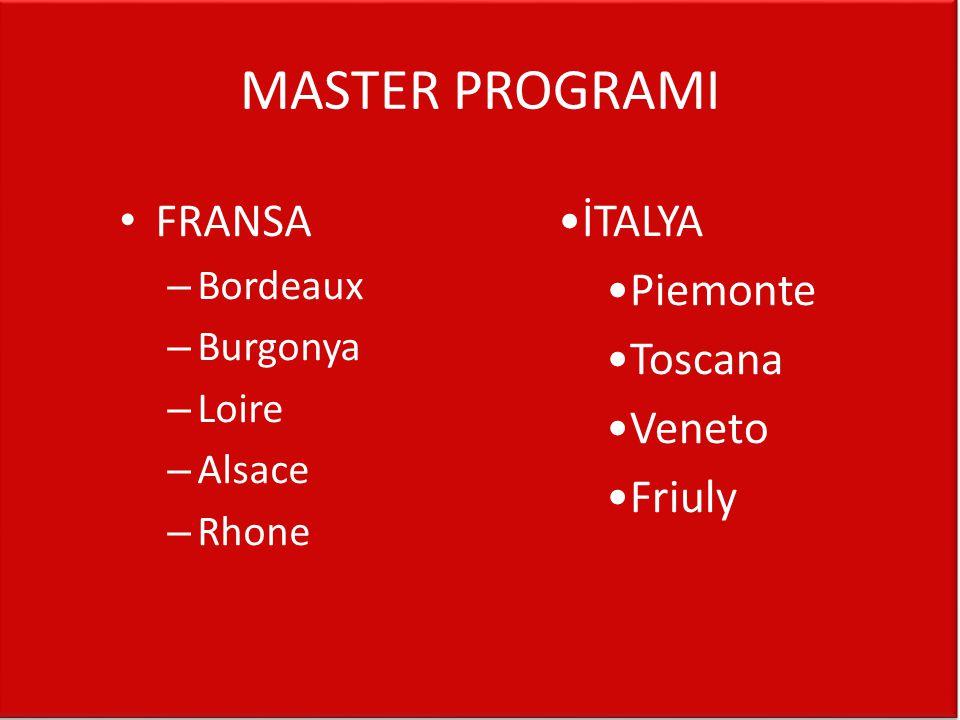 MASTER PROGRAMI • FRANSA – Bordeaux – Burgonya – Loire – Alsace – Rhone •İTALYA •Piemonte •Toscana •Veneto •Friuly