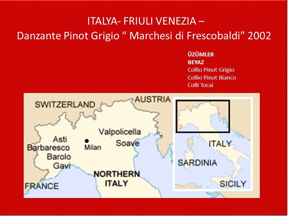 """ITALYA- FRIULI VENEZIA – Danzante Pinot Grigio """" Marchesi di Frescobaldi"""" 2002 ÜZÜMLER BEYAZ Collio Pinot Grigio Collio Pinot Bianco Colli Tocai"""