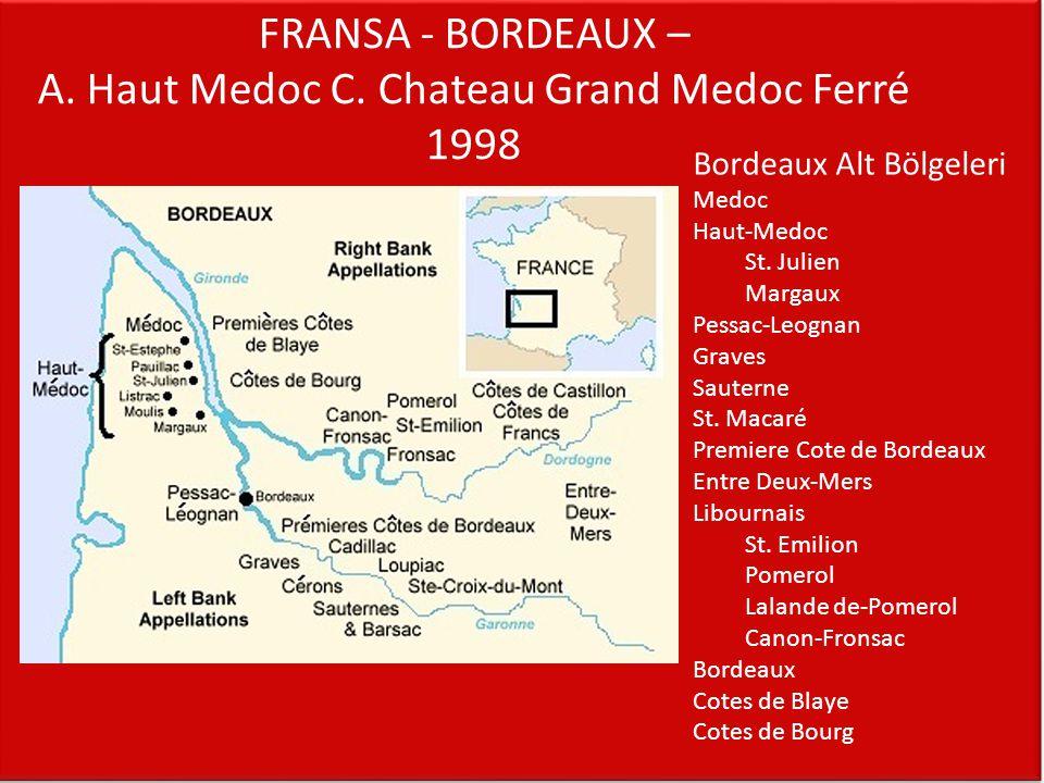 FRANSA - BORDEAUX – A. Haut Medoc C. Chateau Grand Medoc Ferré 1998 Bordeaux Alt Bölgeleri Medoc Haut-Medoc St. Julien Margaux Pessac-Leognan Graves S