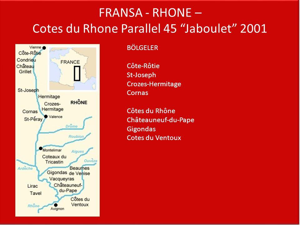 """FRANSA - RHONE – Cotes du Rhone Parallel 45 """"Jaboulet"""" 2001 BÖLGELER Côte-Rôtie St-Joseph Crozes-Hermitage Cornas Côtes du Rhône Châteauneuf-du-Pape G"""