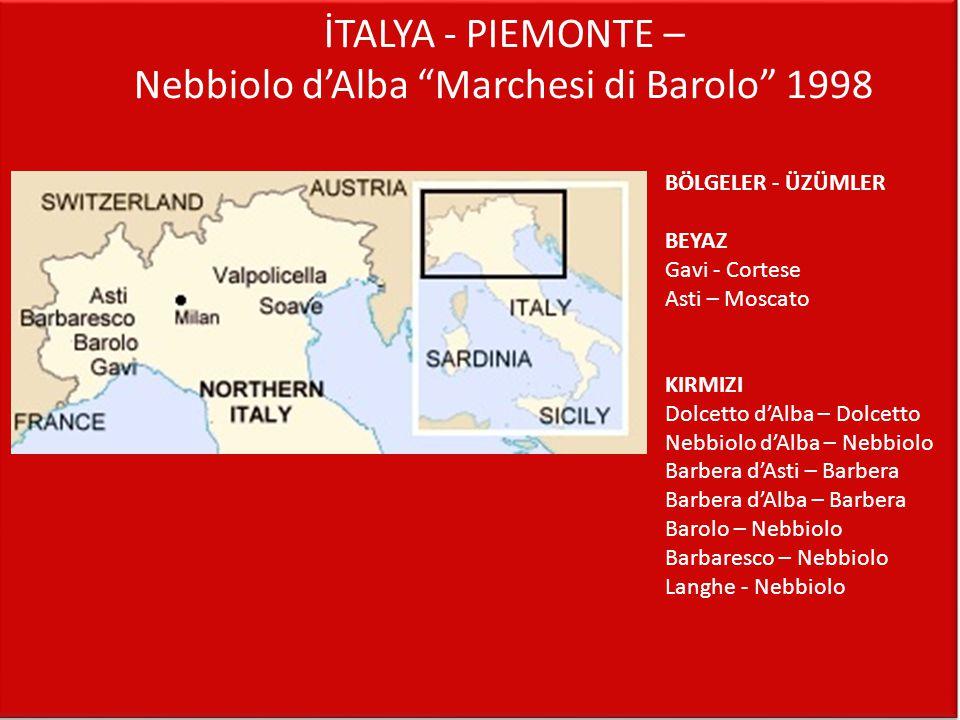 """İTALYA - PIEMONTE – Nebbiolo d'Alba """"Marchesi di Barolo"""" 1998 BÖLGELER - ÜZÜMLER BEYAZ Gavi - Cortese Asti – Moscato KIRMIZI Dolcetto d'Alba – Dolcett"""