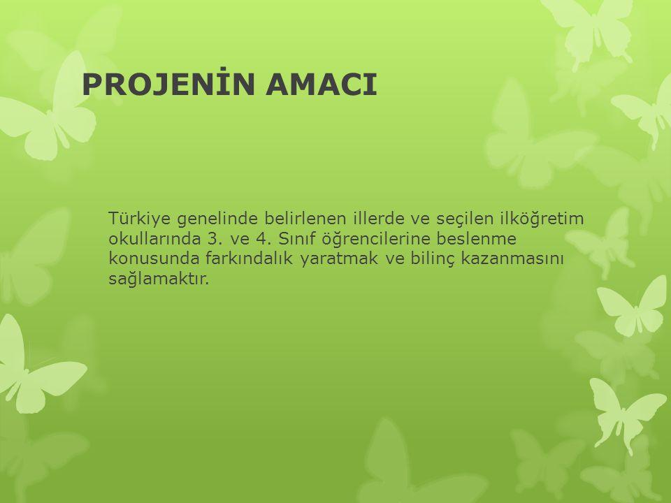 PROJENİN AMACI Türkiye genelinde belirlenen illerde ve seçilen ilköğretim okullarında 3.
