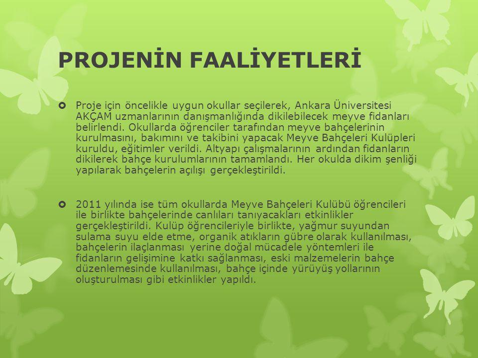 PROJENİN FAALİYETLERİ  Proje için öncelikle uygun okullar seçilerek, Ankara Üniversitesi AKÇAM uzmanlarının danışmanlığında dikilebilecek meyve fidanları belirlendi.