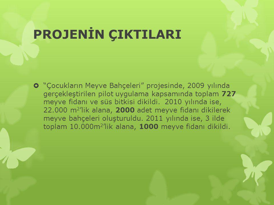 PROJENİN ÇIKTILARI  Çocukların Meyve Bahçeleri projesinde, 2009 yılında gerçekleştirilen pilot uygulama kapsamında toplam 727 meyve fidanı ve süs bitkisi dikildi.
