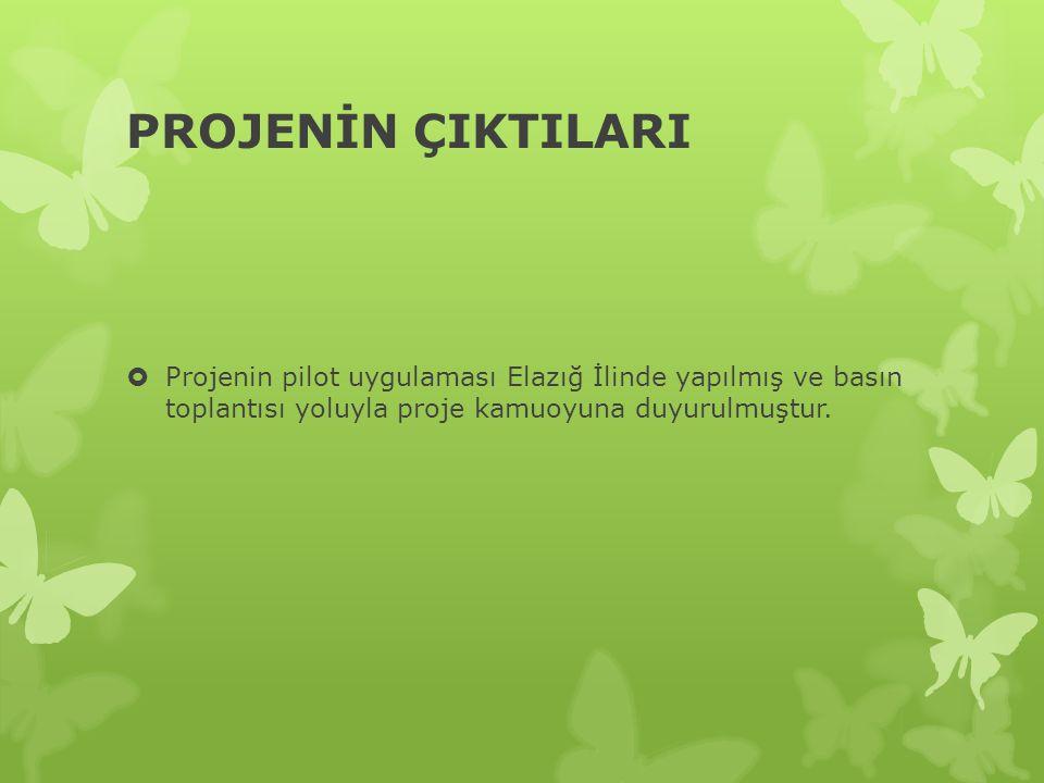PROJENİN ÇIKTILARI  Projenin pilot uygulaması Elazığ İlinde yapılmış ve basın toplantısı yoluyla proje kamuoyuna duyurulmuştur.