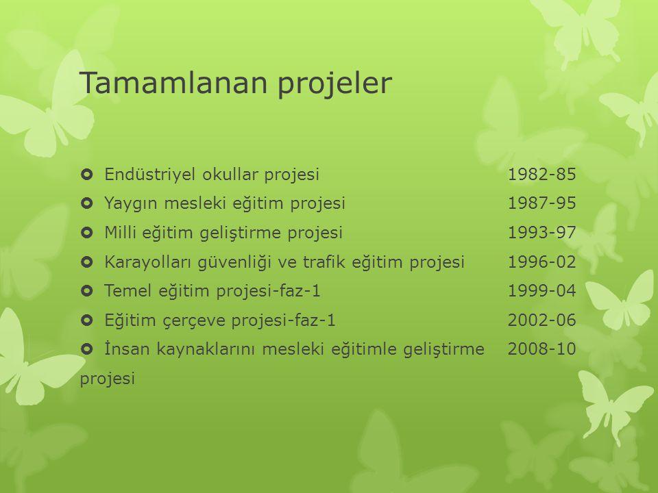 Tamamlanan projeler  Endüstriyel okullar projesi1982-85  Yaygın mesleki eğitim projesi1987-95  Milli eğitim geliştirme projesi1993-97  Karayolları güvenliği ve trafik eğitim projesi1996-02  Temel eğitim projesi-faz-11999-04  Eğitim çerçeve projesi-faz-12002-06  İnsan kaynaklarını mesleki eğitimle geliştirme2008-10 projesi
