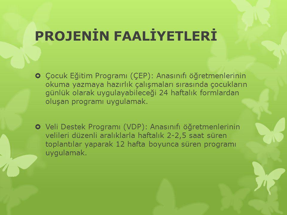 PROJENİN FAALİYETLERİ  Çocuk Eğitim Programı (ÇEP): Anasınıfı öğretmenlerinin okuma yazmaya hazırlık çalışmaları sırasında çocukların günlük olarak uygulayabileceği 24 haftalık formlardan oluşan programı uygulamak.