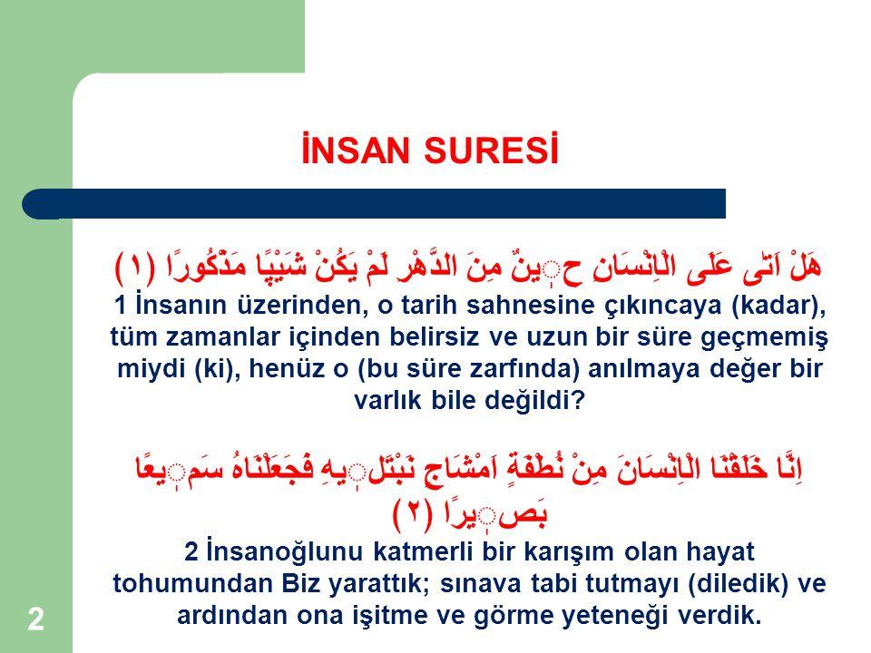 23 Rahman ve Rahim Olan Allah'ın Adıyla İNSAN SURESİ