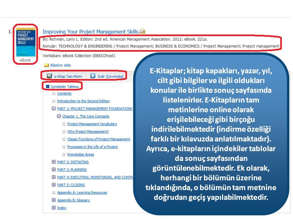 'e-Kitap Tam Metni' linklerine tıklayarak, e-kitapların tam metinlerini görüntüleyebilirsiniz