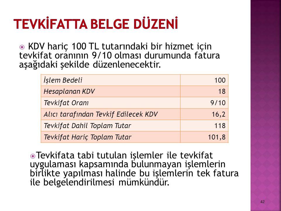  KDV hariç 100 TL tutarındaki bir hizmet için tevkifat oranının 9/10 olması durumunda fatura aşağıdaki şekilde düzenlenecektir.  Tevkifata tabi tutu