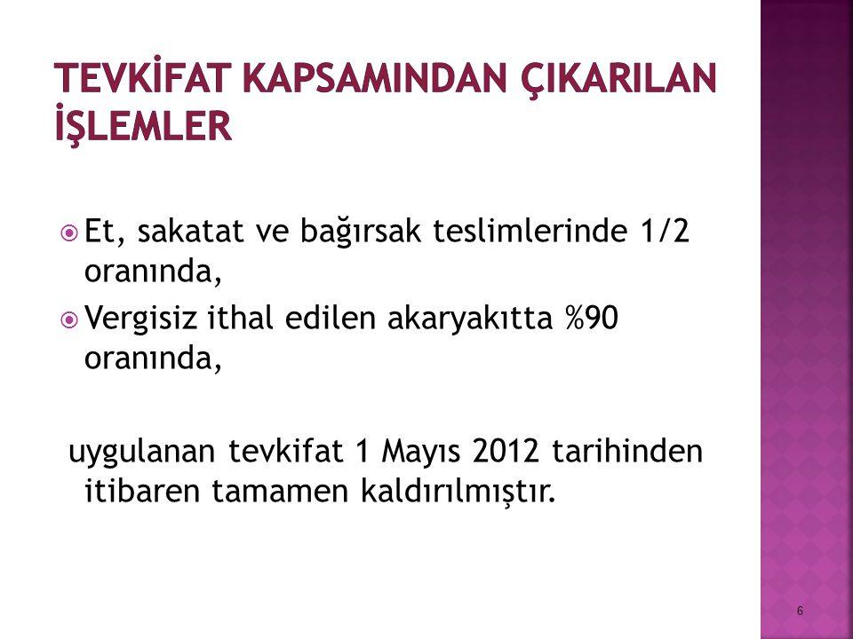  Et, sakatat ve bağırsak teslimlerinde 1/2 oranında,  Vergisiz ithal edilen akaryakıtta %90 oranında, uygulanan tevkifat 1 Mayıs 2012 tarihinden iti