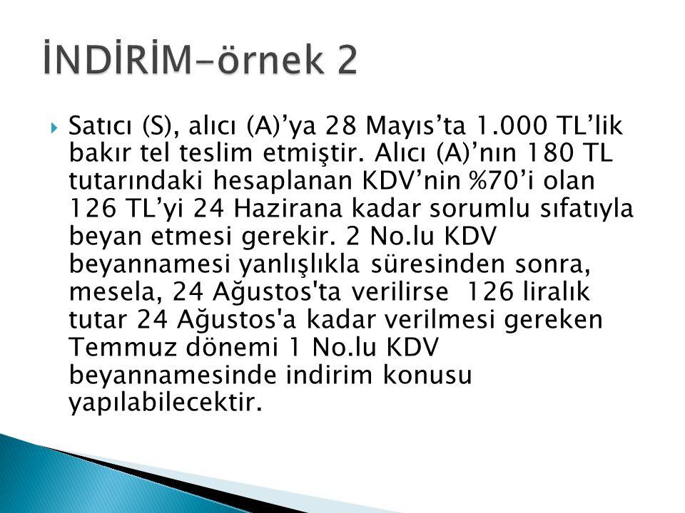  Satıcı (S), alıcı (A)'ya 28 Mayıs'ta 1.000 TL'lik bakır tel teslim etmiştir. Alıcı (A)'nın 180 TL tutarındaki hesaplanan KDV'nin %70'i olan 126 TL'y