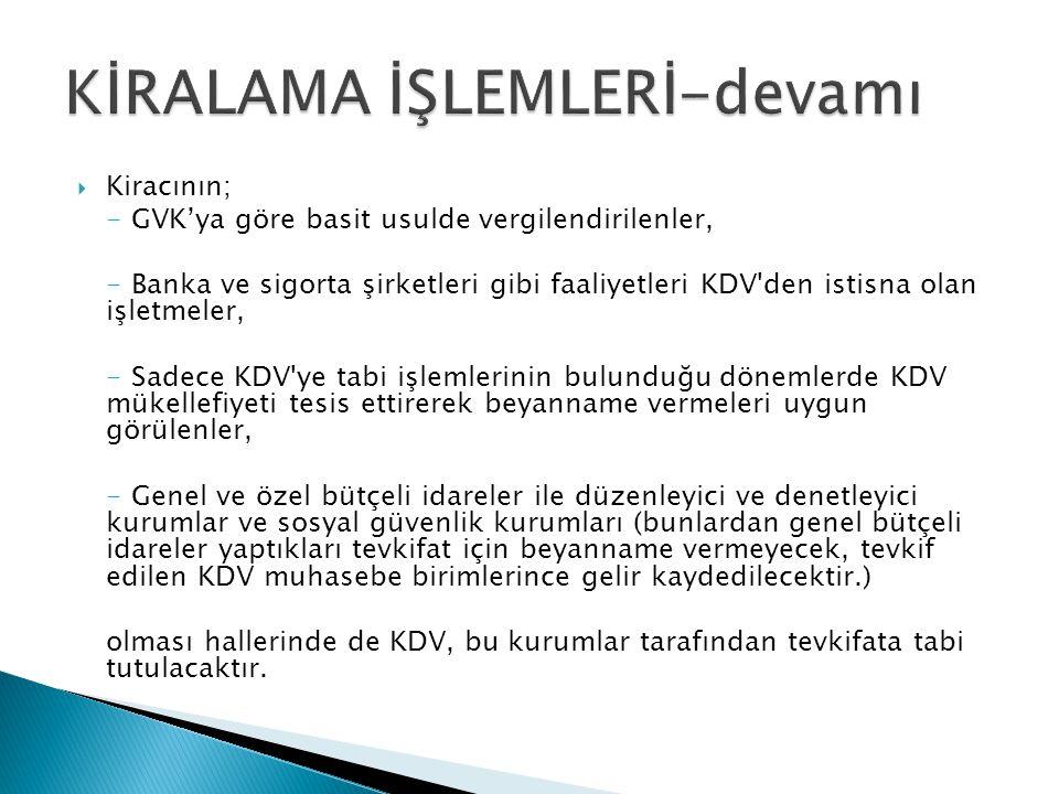  Kiracının; - GVK'ya göre basit usulde vergilendirilenler, - Banka ve sigorta şirketleri gibi faaliyetleri KDV'den istisna olan işletmeler, - Sadece