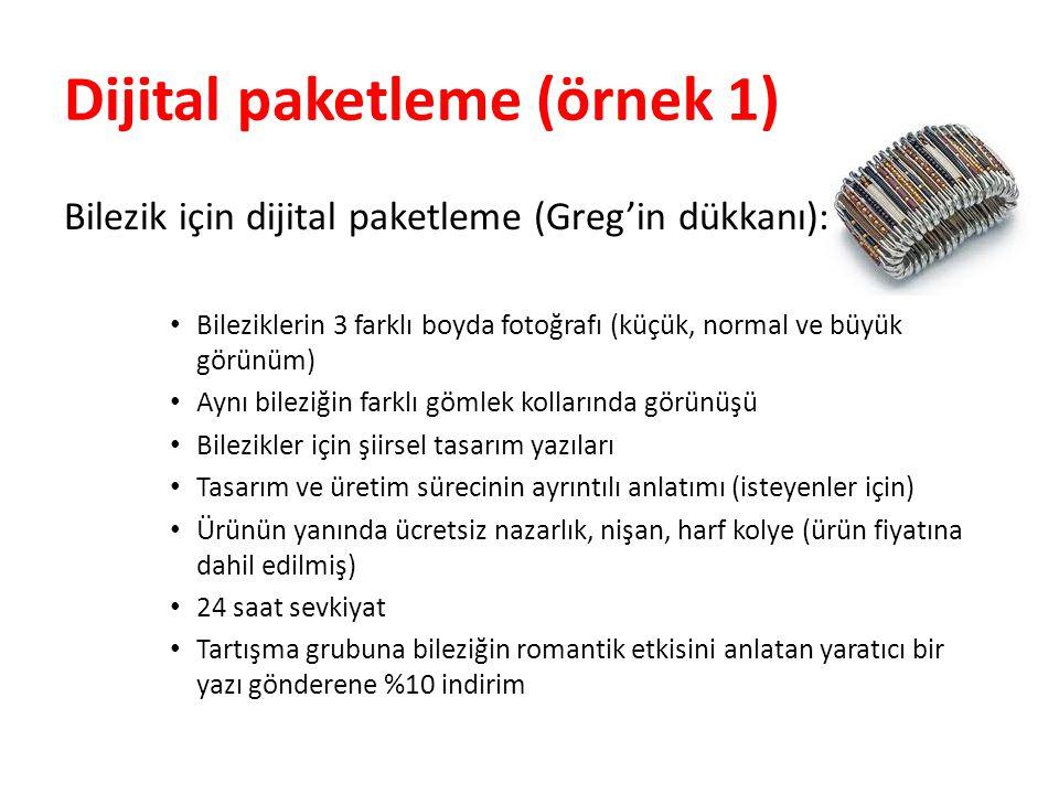Dijital paketleme (örnek 1) Bilezik için dijital paketleme (Greg'in dükkanı): • Bileziklerin 3 farklı boyda fotoğrafı (küçük, normal ve büyük görünüm)