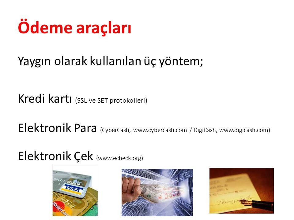 Ödeme araçları Yaygın olarak kullanılan üç yöntem; Kredi kartı (SSL ve SET protokolleri) Elektronik Para (CyberCash, www.cybercash.com / DigiCash, www.digicash.com) Elektronik Çek (www.echeck.org)