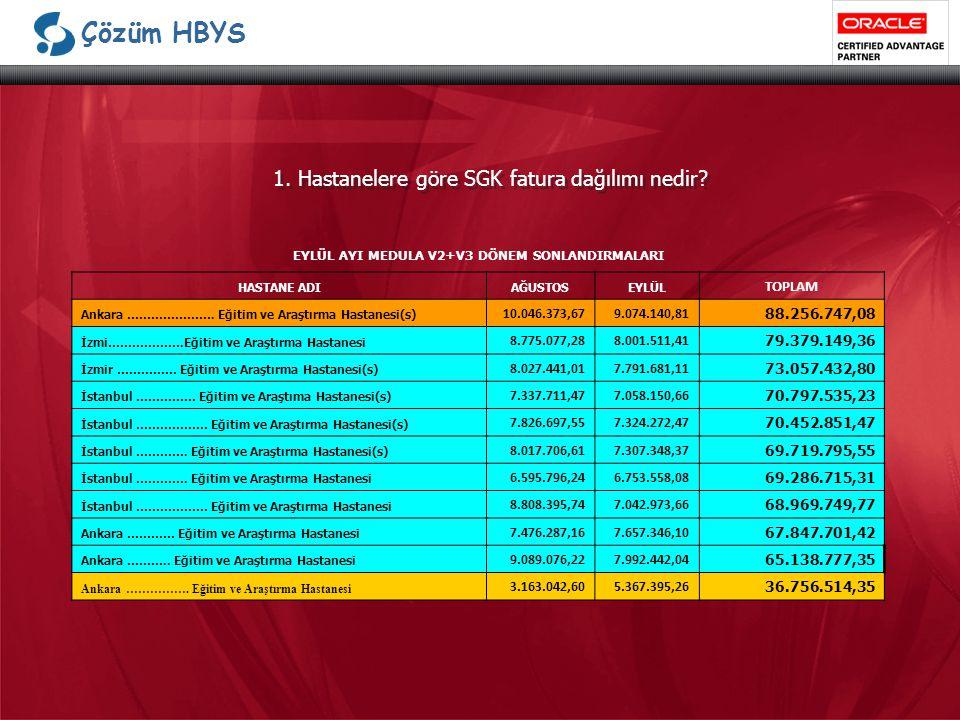 Çözüm HBYS 1.Hastanelere göre SGK fatura dağılımı nedir.