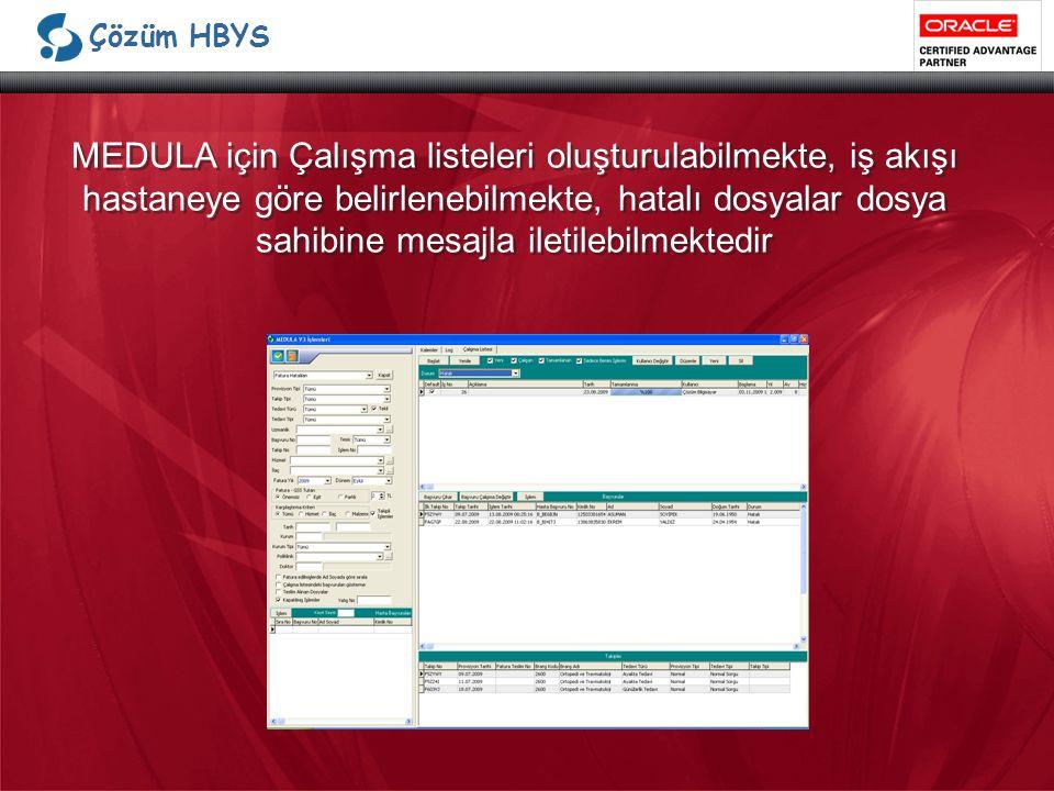 Çözüm HBYS MEDULA için Çalışma listeleri oluşturulabilmekte, iş akışı hastaneye göre belirlenebilmekte, hatalı dosyalar dosya sahibine mesajla iletilebilmektedir