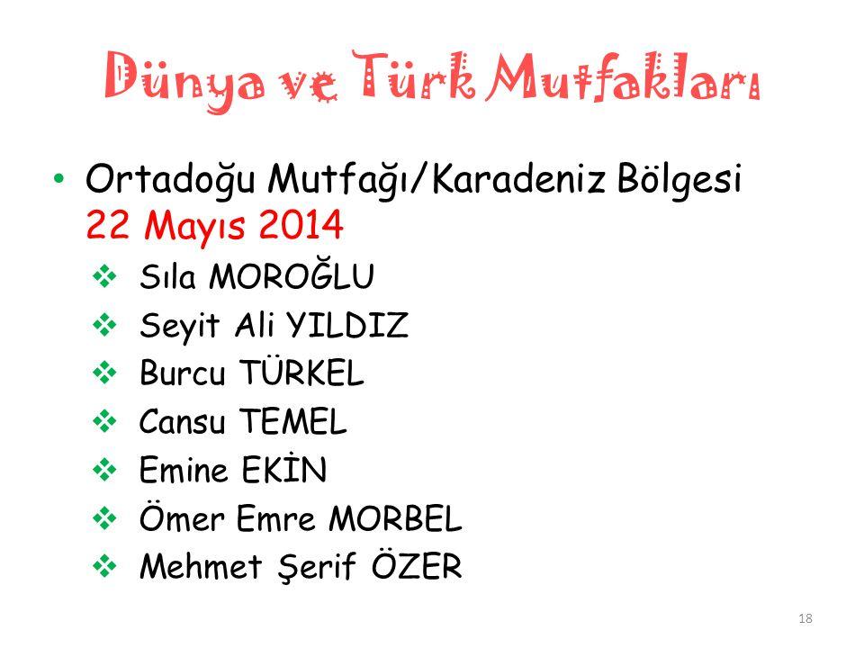 Dünya ve Türk Mutfakları • Ortadoğu Mutfağı/Karadeniz Bölgesi 22 Mayıs 2014  Sıla MOROĞLU  Seyit Ali YILDIZ  Burcu TÜRKEL  Cansu TEMEL  Emine EKİ