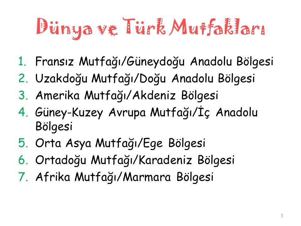 Dünya ve Türk Mutfakları Normal Öğretim 4