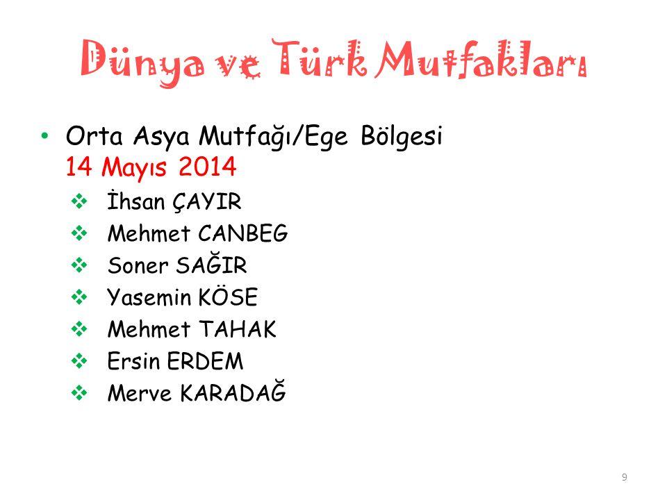 Dünya ve Türk Mutfakları • Orta Asya Mutfağı/Ege Bölgesi 14 Mayıs 2014  İhsan ÇAYIR  Mehmet CANBEG  Soner SAĞIR  Yasemin KÖSE  Mehmet TAHAK  Ers