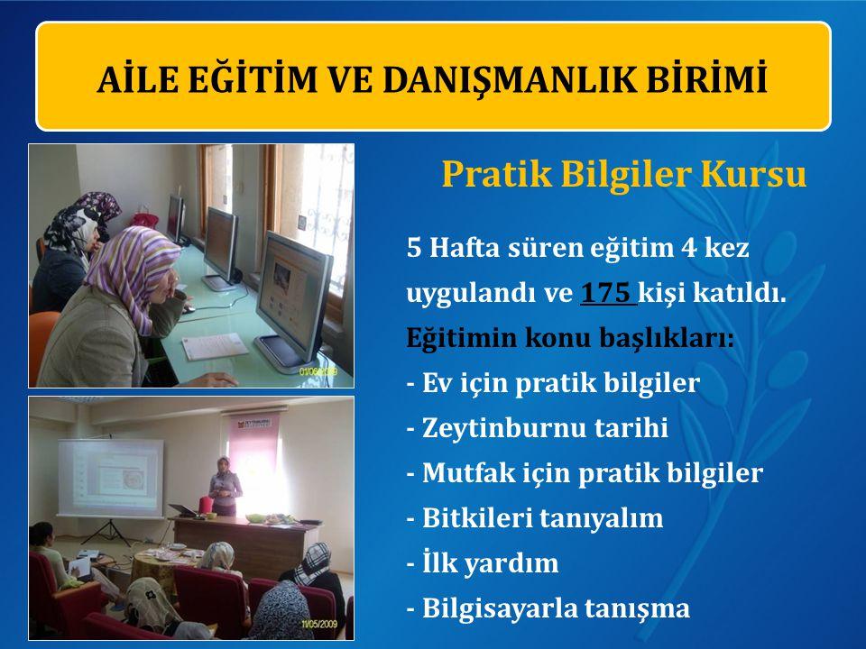 Pratik Bilgiler Kursu 5 Hafta süren eğitim 4 kez uygulandı ve 175 kişi katıldı.