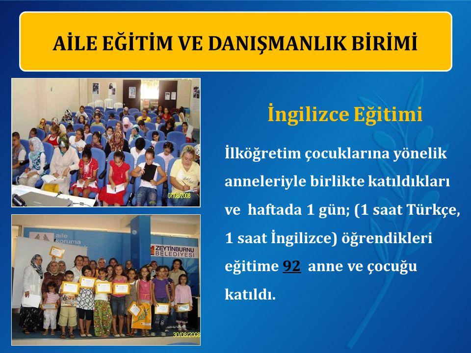 İngilizce Eğitimi İlköğretim çocuklarına yönelik anneleriyle birlikte katıldıkları ve haftada 1 gün; (1 saat Türkçe, 1 saat İngilizce) öğrendikleri eğitime 92 anne ve çocuğu katıldı.