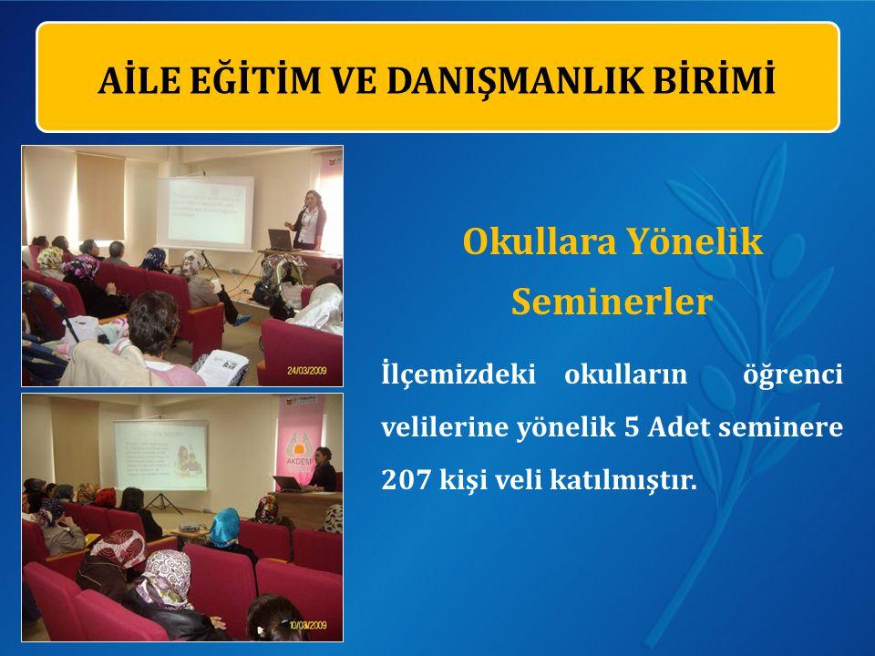 Okullara Yönelik Seminerler İlçemizdeki okulların öğrenci velilerine yönelik 5 Adet seminere 207 kişi veli katılmıştır.