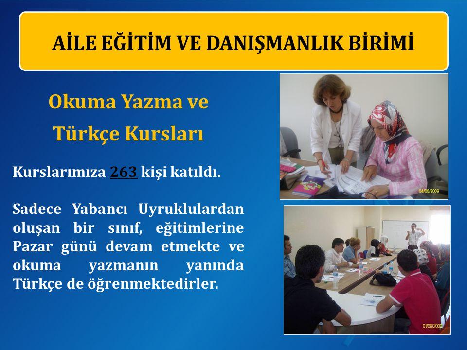AİLE EĞİTİM VE DANIŞMANLIK BİRİMİ Okuma Yazma ve Türkçe Kursları Kurslarımıza 263 kişi katıldı.